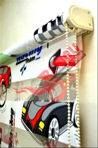 Racing Car Baskılı  Zebra Perde